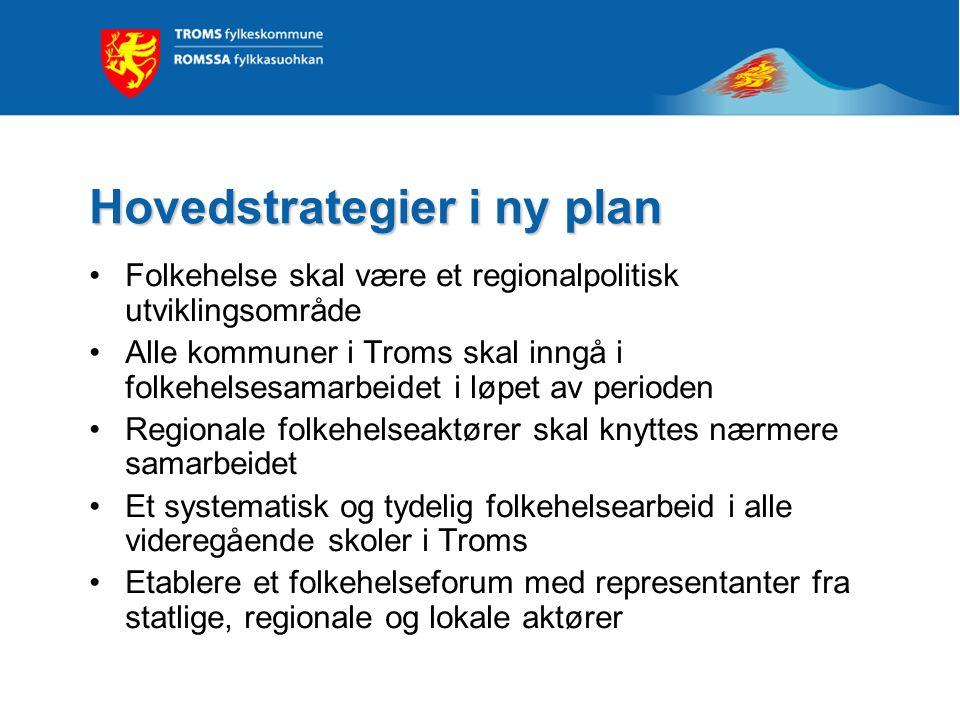 Hovedstrategier i ny plan Folkehelse skal være et regionalpolitisk utviklingsområde Alle kommuner i Troms skal inngå i folkehelsesamarbeidet i løpet a