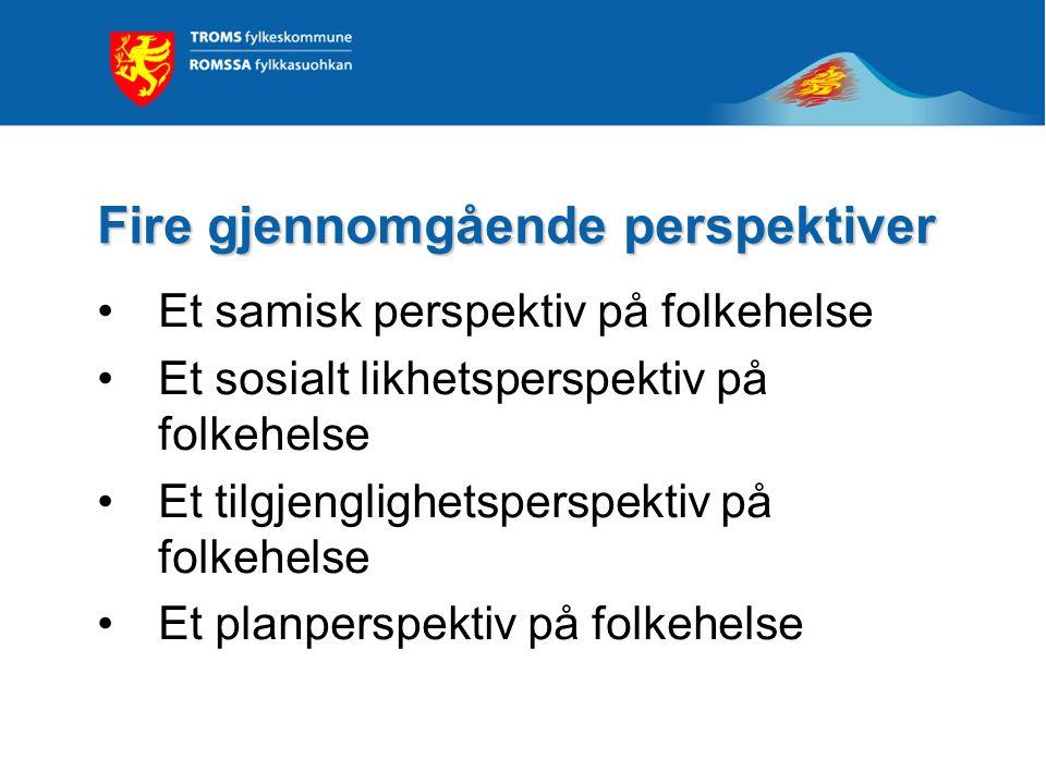 Fire gjennomgående perspektiver Et samisk perspektiv på folkehelse Et sosialt likhetsperspektiv på folkehelse Et tilgjenglighetsperspektiv på folkehel