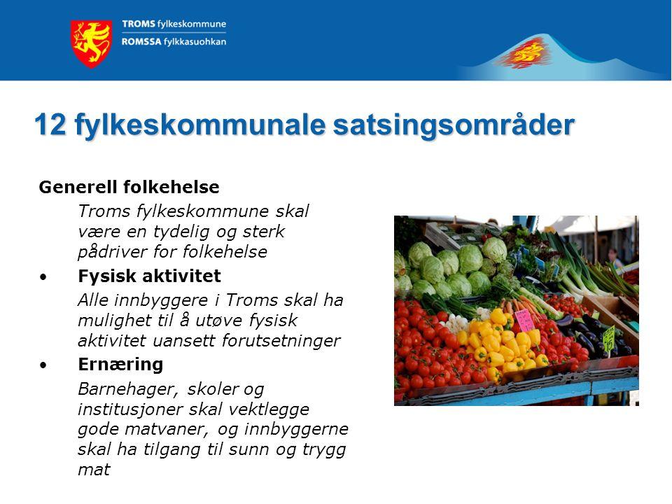 12 fylkeskommunale satsingsområder Generell folkehelse Troms fylkeskommune skal være en tydelig og sterk pådriver for folkehelse Fysisk aktivitet Alle