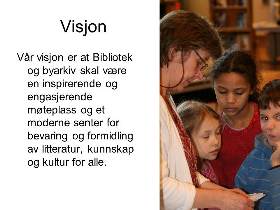 Visjon Vår visjon er at Bibliotek og byarkiv skal være en inspirerende og engasjerende møteplass og et moderne senter for bevaring og formidling av li