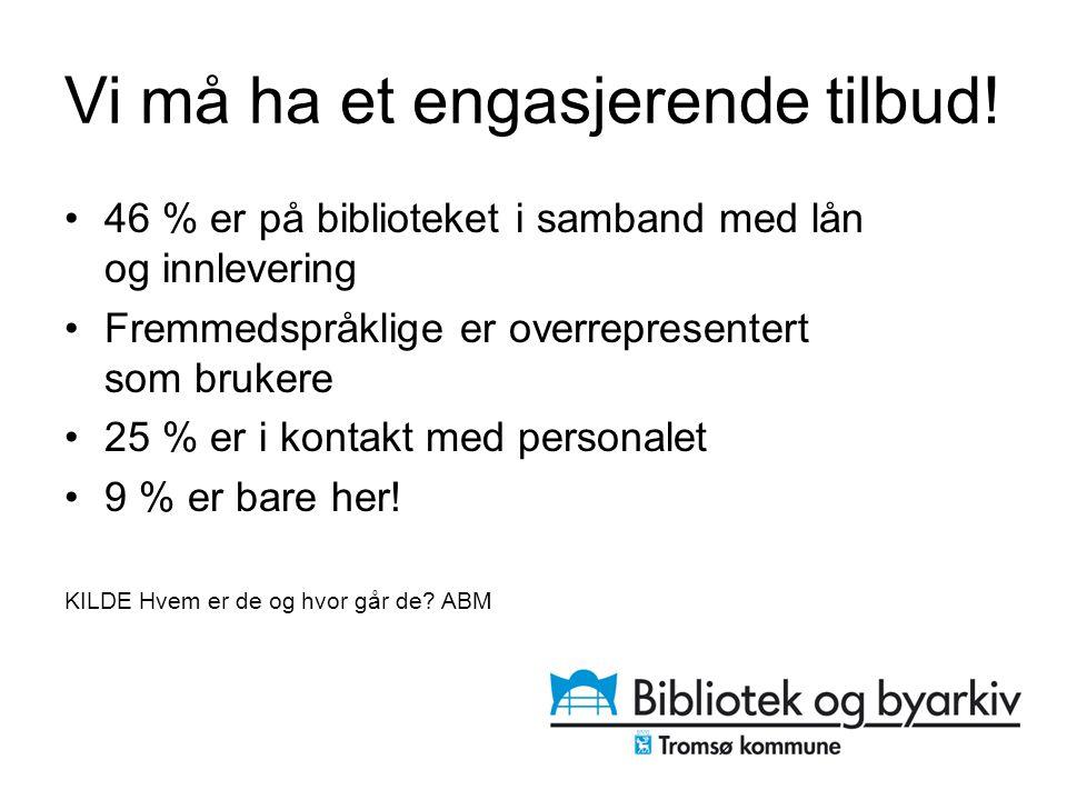 Vi må ha et engasjerende tilbud! 46 % er på biblioteket i samband med lån og innlevering Fremmedspråklige er overrepresentert som brukere 25 % er i ko