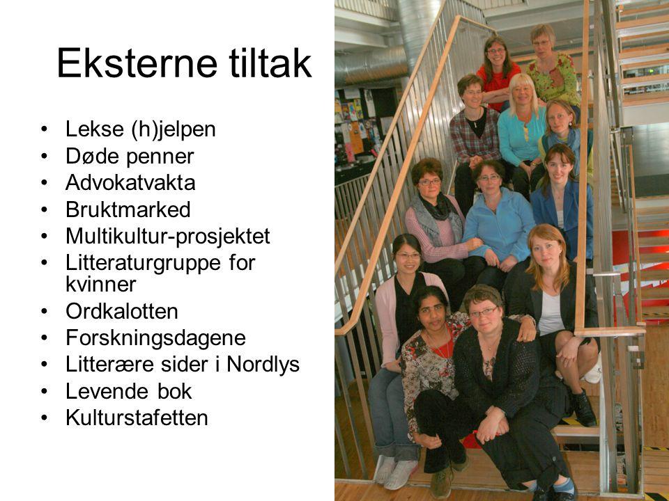 Eksterne tiltak Lekse (h)jelpen Døde penner Advokatvakta Bruktmarked Multikultur-prosjektet Litteraturgruppe for kvinner Ordkalotten Forskningsdagene