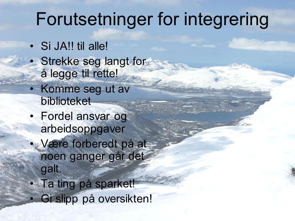 Forutsetninger for integrering Si JA!! til alle! Strekke seg langt for å legge til rette! Komme seg ut av biblioteket Fordel ansvar og arbeidsoppgaver