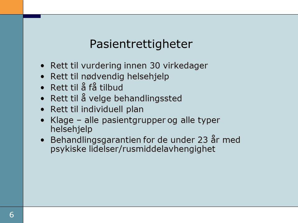 6 Pasientrettigheter Rett til vurdering innen 30 virkedagerRett til vurdering innen 30 virkedager Rett til nødvendig helsehjelpRett til nødvendig helsehjelp Rett til å få tilbudRett til å få tilbud Rett til å velge behandlingsstedRett til å velge behandlingssted Rett til individuell planRett til individuell plan Klage – alle pasientgrupper og alle typer helsehjelpKlage – alle pasientgrupper og alle typer helsehjelp Behandlingsgarantien for de under 23 år med psykiske lidelser/rusmiddelavhengighetBehandlingsgarantien for de under 23 år med psykiske lidelser/rusmiddelavhengighet