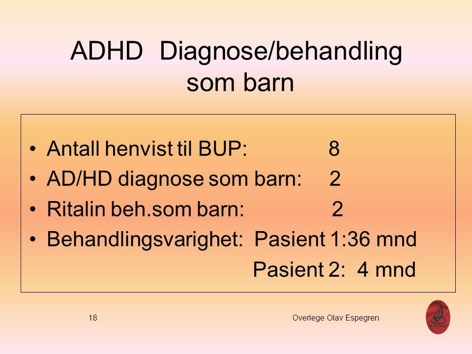 ADHD Diagnose/behandling som barn Antall henvist til BUP: 8 AD/HD diagnose som barn: 2 Ritalin beh.som barn: 2 Behandlingsvarighet: Pasient 1:36 mnd P