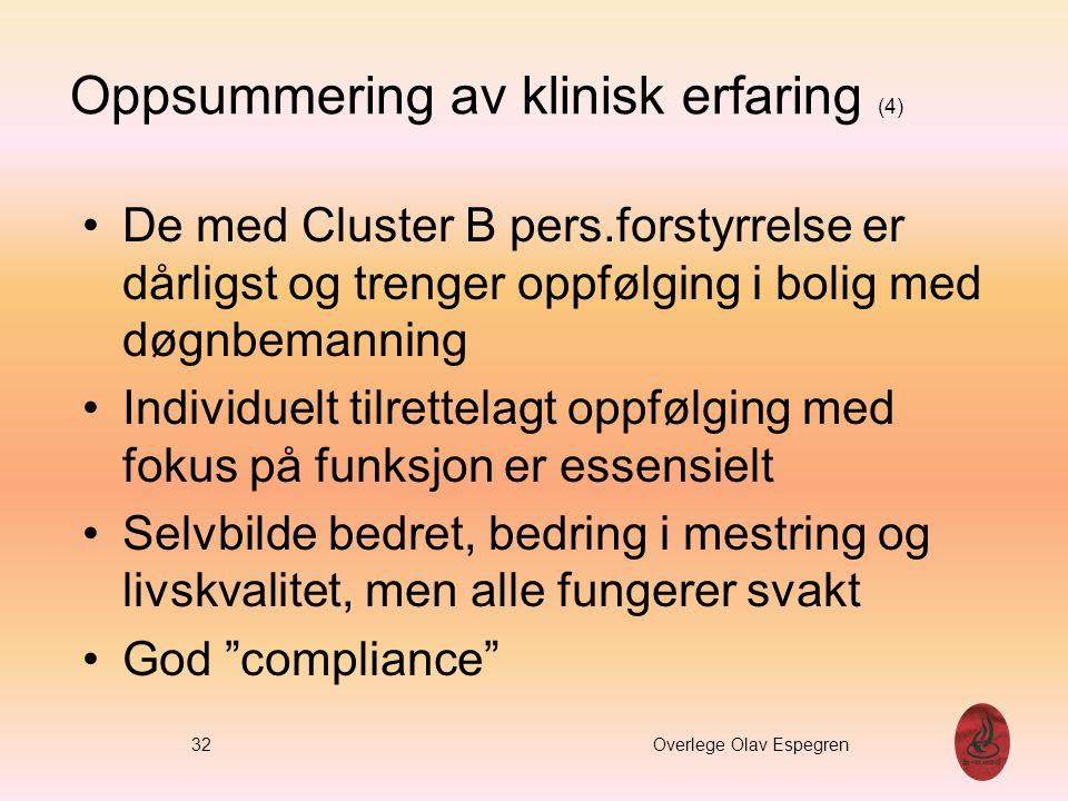 Oppsummering av klinisk erfaring (4) De med Cluster B pers.forstyrrelse er dårligst og trenger oppfølging i bolig med døgnbemanning Individuelt tilret