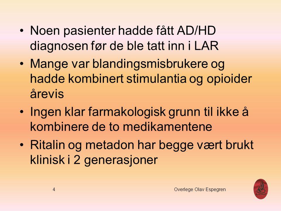 Noen pasienter hadde fått AD/HD diagnosen før de ble tatt inn i LAR Mange var blandingsmisbrukere og hadde kombinert stimulantia og opioider årevis In
