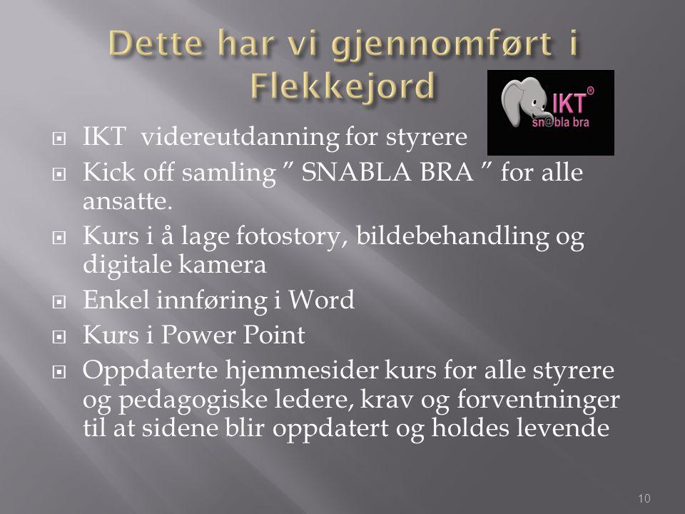 """ IKT videreutdanning for styrere  Kick off samling """" SNABLA BRA """" for alle ansatte.  Kurs i å lage fotostory, bildebehandling og digitale kamera """