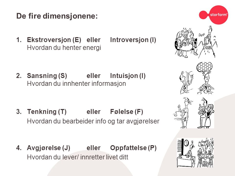 De fire dimensjonene: 1.Ekstroversjon (E)ellerIntroversjon (I) Hvordan du henter energi 2.Sansning (S)ellerIntuisjon (I) Hvordan du innhenter informasjon 3.Tenkning (T)ellerFølelse (F) Hvordan du bearbeider info og tar avgjørelser 4.Avgjørelse (J)ellerOppfattelse (P) Hvordan du lever/ innretter livet ditt