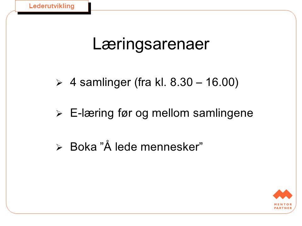 """Lederutvikling Læringsarenaer  4 samlinger (fra kl. 8.30 – 16.00)  E-læring før og mellom samlingene  Boka """"Å lede mennesker"""""""