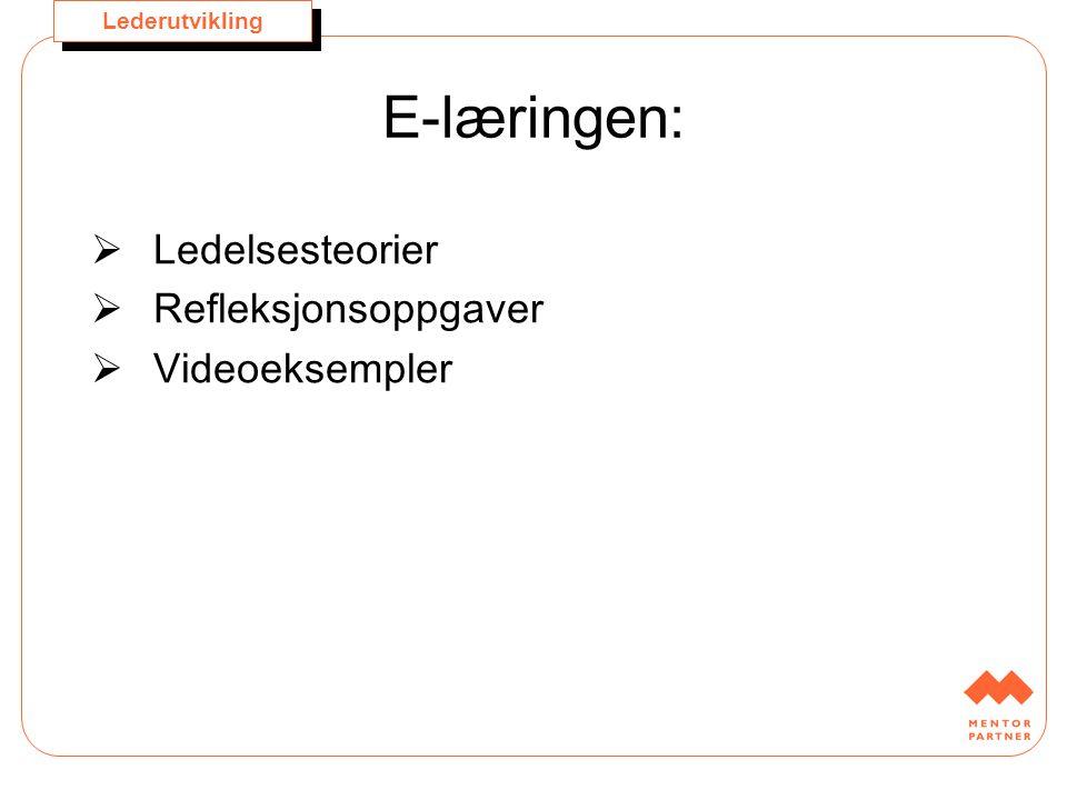 Lederutvikling E-læringen:  Ledelsesteorier  Refleksjonsoppgaver  Videoeksempler