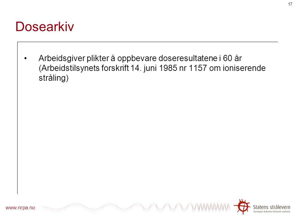 www.nrpa.no 16 Dosestatistikk alle arbeidskategorier, 2007