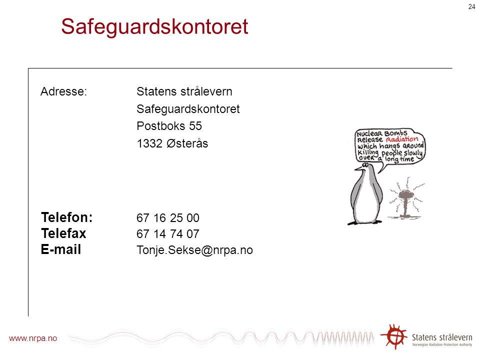 www.nrpa.no 23 Inventarliste Oppdatert inventarliste skal sendes Safeguardskontoret innen 1. mai hvert år