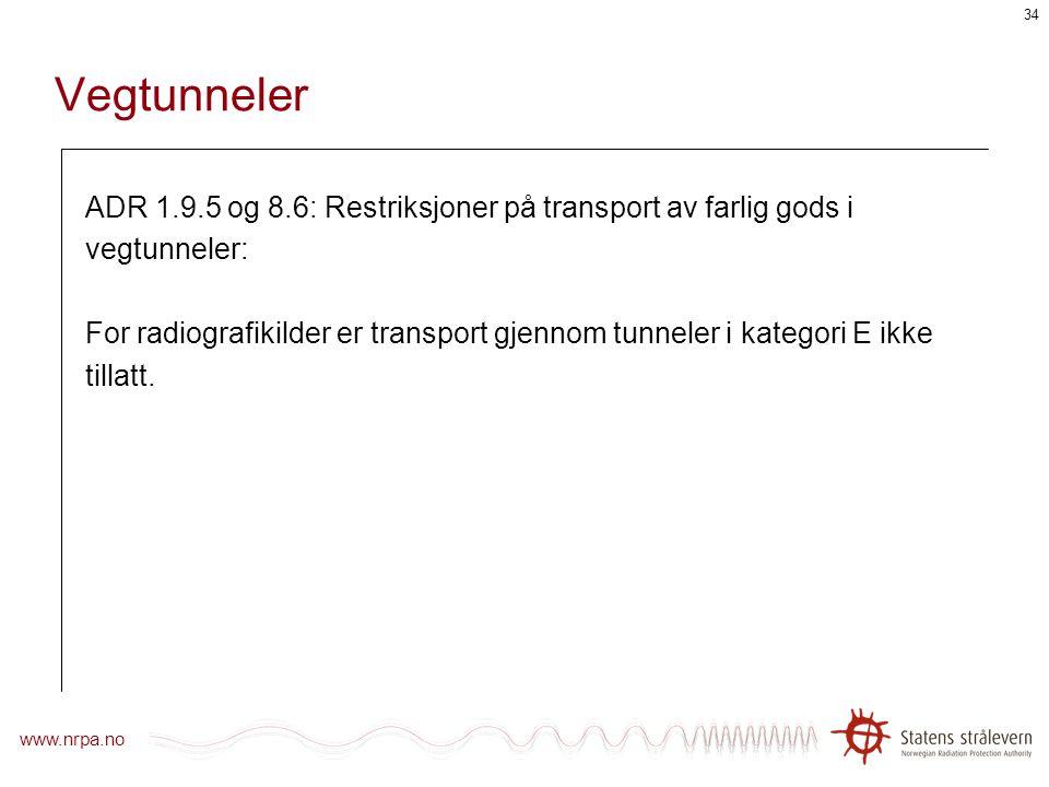 www.nrpa.no 33 Strålevernprogram ADR/RID 1.7.2 setter krav om strålevernprogram. 1.7.2.4 spesifiserer kriterier for programmets størrelse og detaljeri