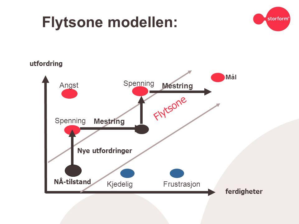 Flytsone modellen: utfordring ferdigheter Flytsone NÅ-tilstand Nye utfordringer Angst Spenning KjedeligFrustrasjon Mestring Spenning Mestring Mål