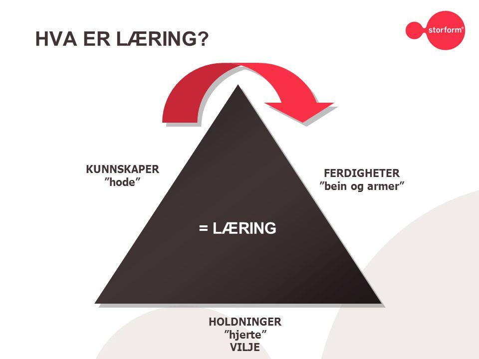"""HVA ER LÆRING? KUNNSKAPER """"hode"""" FERDIGHETER """"bein og armer"""" HOLDNINGER """"hjerte"""" VILJE = LÆRING"""