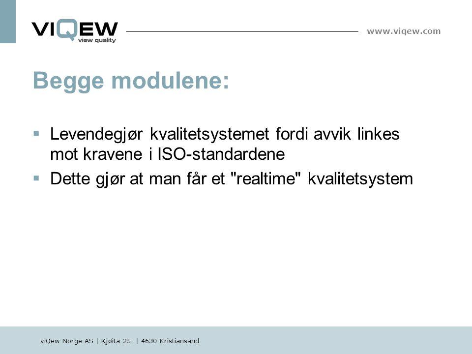 viQew Norge AS | Kjøita 25 | 4630 Kristiansand www.viqew.com Begge modulene:  Levendegjør kvalitetsystemet fordi avvik linkes mot kravene i ISO-stand