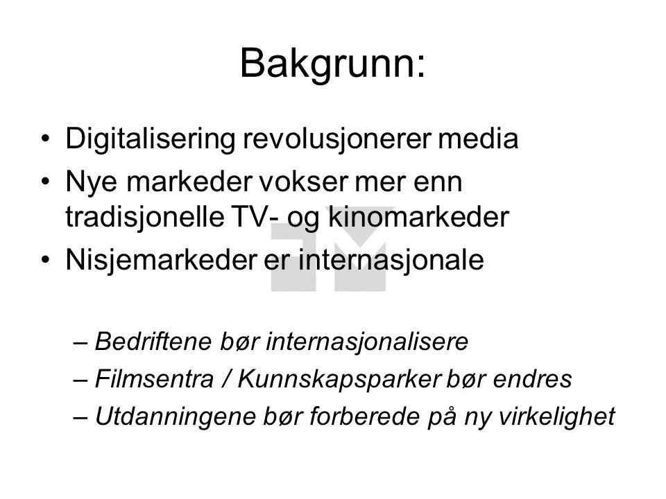 Bakgrunn: Digitalisering revolusjonerer media Nye markeder vokser mer enn tradisjonelle TV- og kinomarkeder Nisjemarkeder er internasjonale –Bedriftene bør internasjonalisere –Filmsentra / Kunnskapsparker bør endres –Utdanningene bør forberede på ny virkelighet