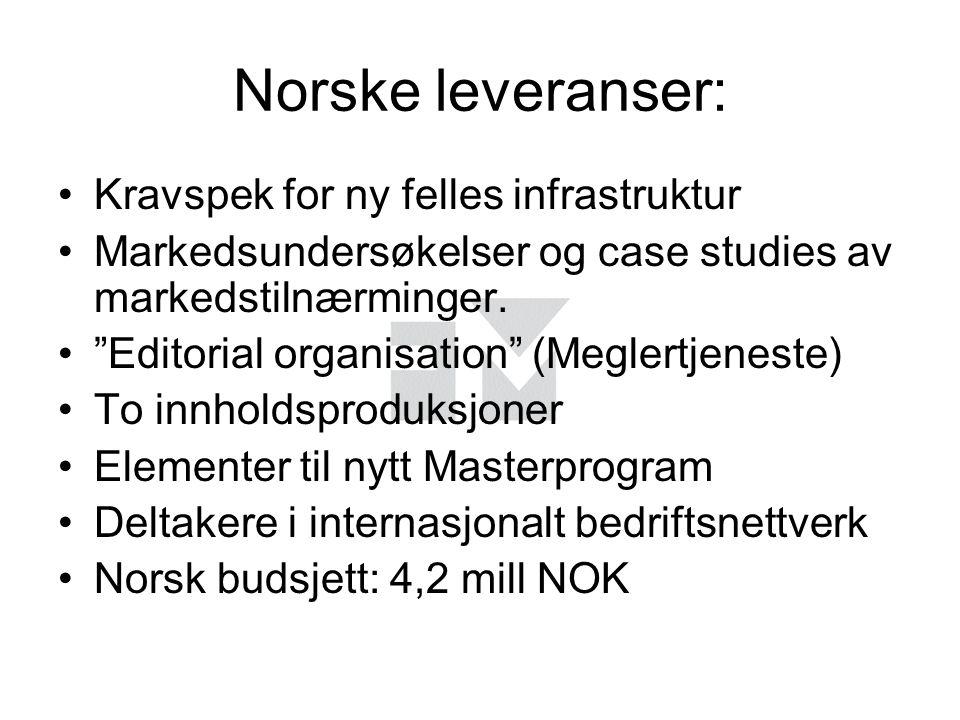 Norske leveranser: Kravspek for ny felles infrastruktur Markedsundersøkelser og case studies av markedstilnærminger.