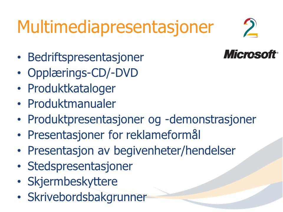 Multimediapresentasjoner Bedriftspresentasjoner Opplærings-CD/-DVD Produktkataloger Produktmanualer Produktpresentasjoner og -demonstrasjoner Presenta