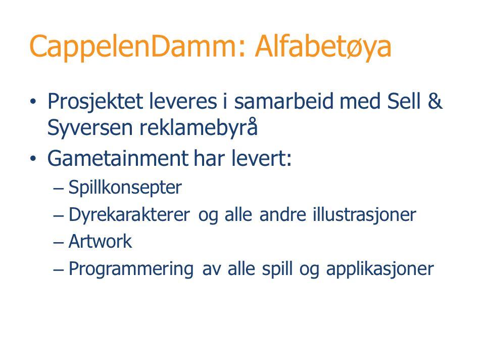 CappelenDamm: Alfabetøya Prosjektet leveres i samarbeid med Sell & Syversen reklamebyrå Gametainment har levert: – Spillkonsepter – Dyrekarakterer og