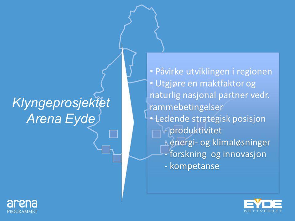 Klyngeprosjektet Arena Eyde Påvirke utviklingen i regionen Utgjøre en maktfaktor og naturlig nasjonal partner vedr. rammebetingelser Ledende strategis