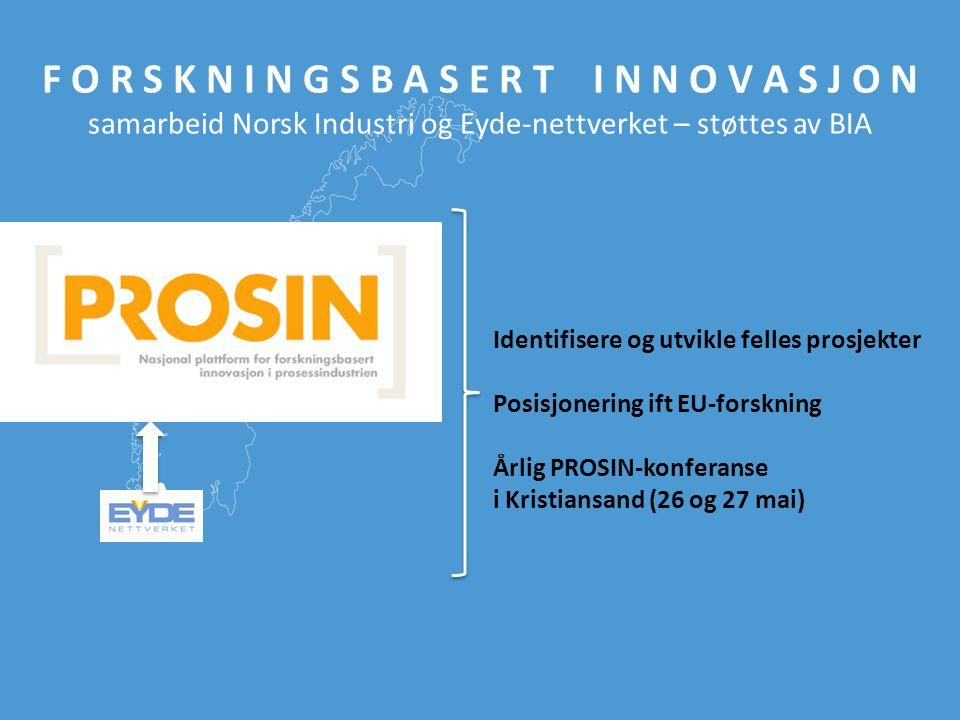 F O R S K N I N G S B A S E R T I N N O V A S J O N samarbeid Norsk Industri og Eyde-nettverket – støttes av BIA Identifisere og utvikle felles prosje