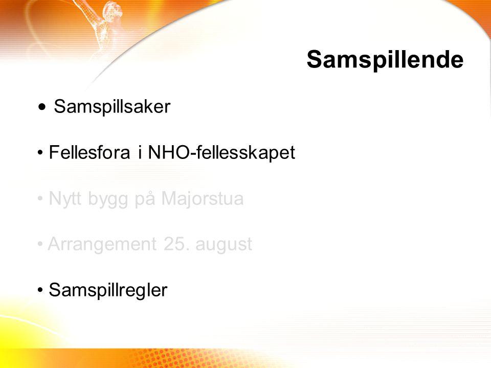 Samspillende Samspillsaker Fellesfora i NHO-fellesskapet Nytt bygg på Majorstua Arrangement 25.