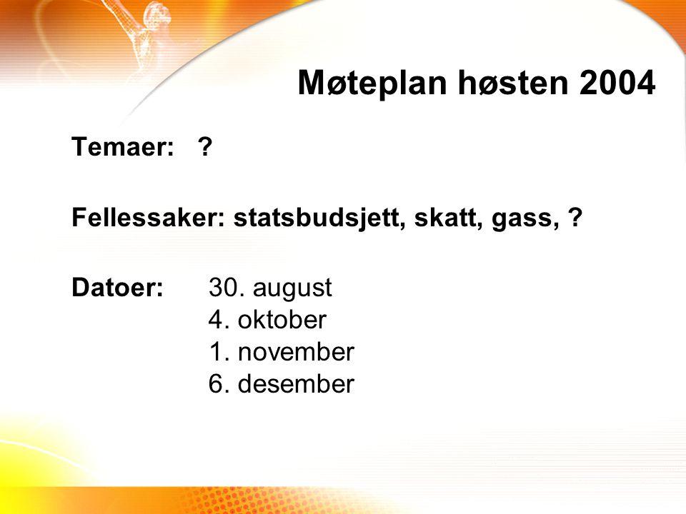 Temaer: .Fellessaker: statsbudsjett, skatt, gass, .