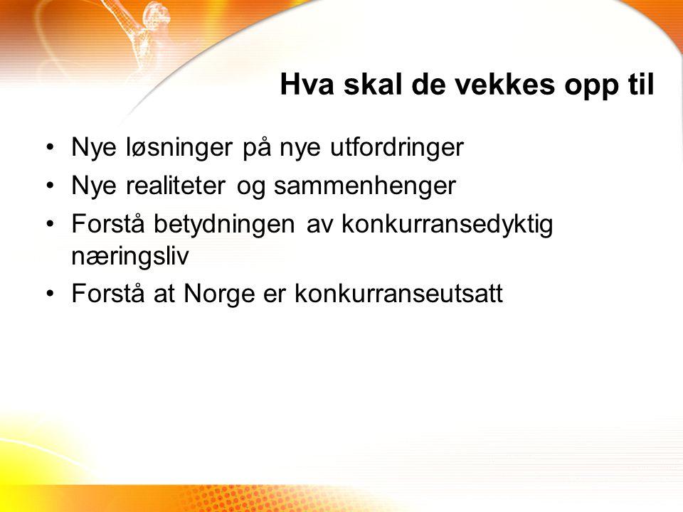 Hva skal de vekkes opp til Nye løsninger på nye utfordringer Nye realiteter og sammenhenger Forstå betydningen av konkurransedyktig næringsliv Forstå at Norge er konkurranseutsatt