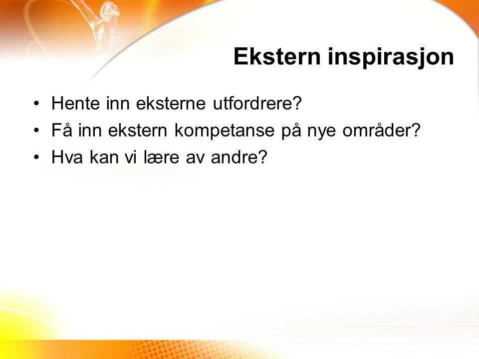 Ekstern inspirasjon Hente inn eksterne utfordrere.