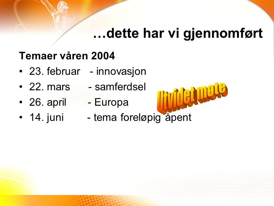 Temaer våren 2004 23.februar - innovasjon 22. mars - samferdsel 26.