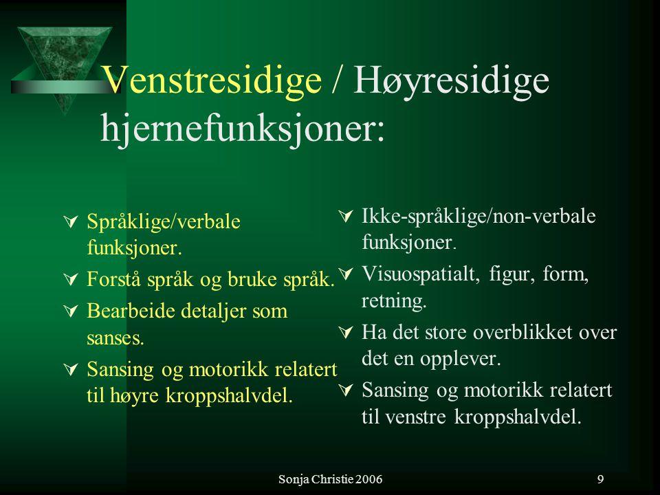 Sonja Christie 20069 Venstresidige / Høyresidige hjernefunksjoner:  Språklige/verbale funksjoner.  Forstå språk og bruke språk.  Bearbeide detaljer