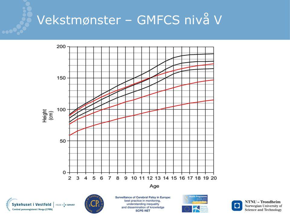 Vekstmønster – GMFCS nivå V
