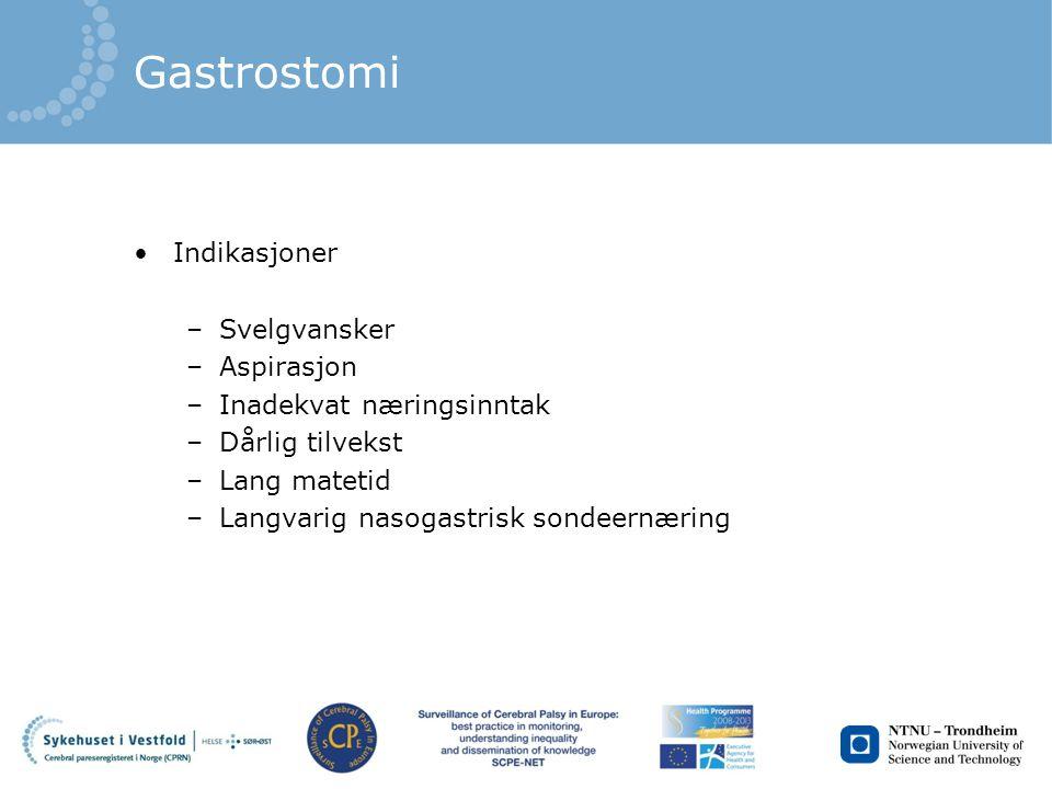 Gastrostomi Indikasjoner –Svelgvansker –Aspirasjon –Inadekvat næringsinntak –Dårlig tilvekst –Lang matetid –Langvarig nasogastrisk sondeernæring