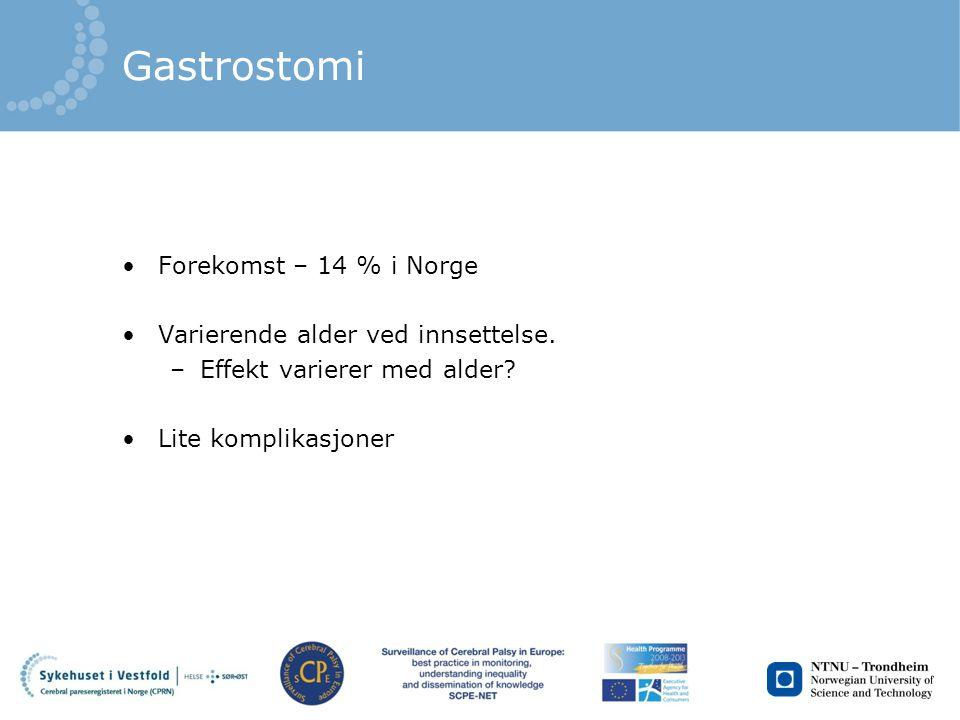Gastrostomi Forekomst – 14 % i Norge Varierende alder ved innsettelse. –Effekt varierer med alder? Lite komplikasjoner