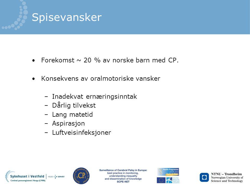 Spisevansker Forekomst ~ 20 % av norske barn med CP. Konsekvens av oralmotoriske vansker –Inadekvat ernæringsinntak –Dårlig tilvekst –Lang matetid –As
