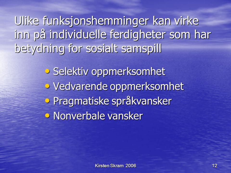 Kirsten Skram 200612 Ulike funksjonshemminger kan virke inn på individuelle ferdigheter som har betydning for sosialt samspill Selektiv oppmerksomhet
