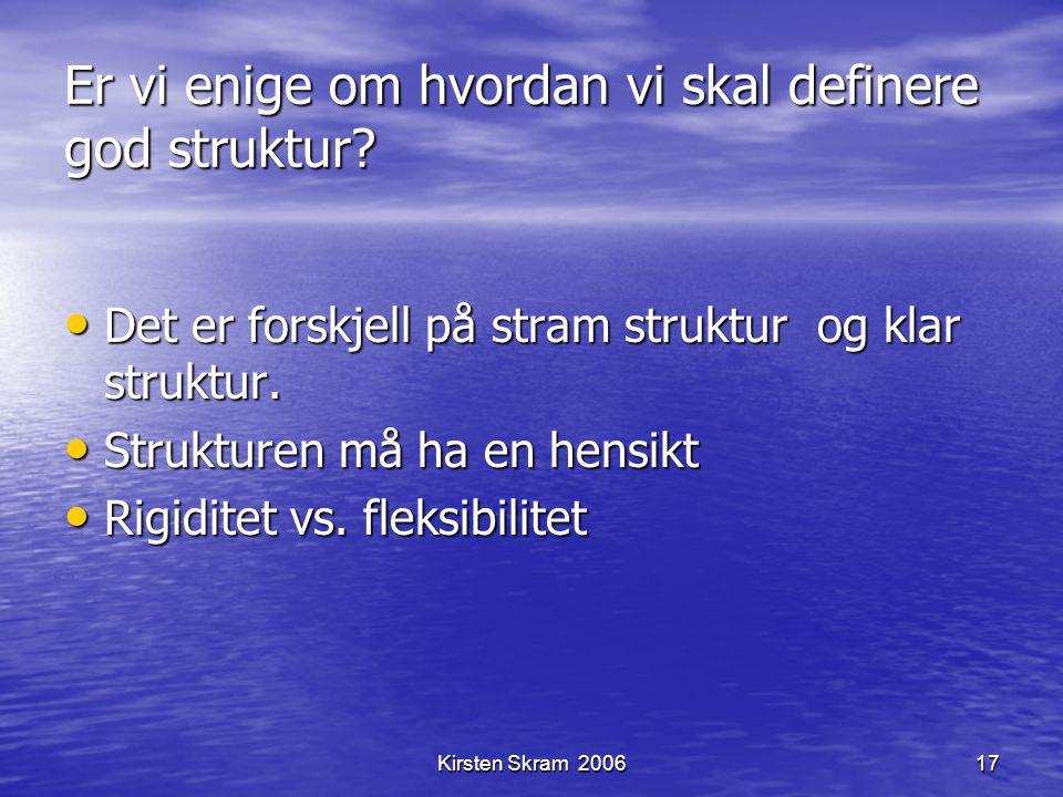 Kirsten Skram 200617 Er vi enige om hvordan vi skal definere god struktur? Det er forskjell på stram struktur og klar struktur. Det er forskjell på st