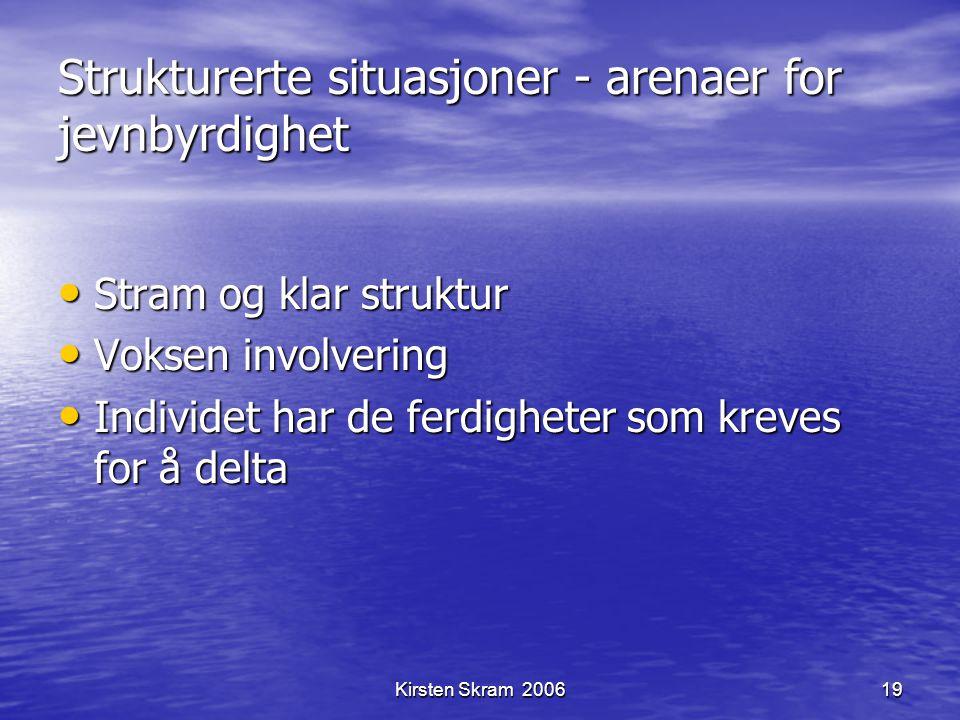 Kirsten Skram 200619 Strukturerte situasjoner - arenaer for jevnbyrdighet Stram og klar struktur Stram og klar struktur Voksen involvering Voksen invo
