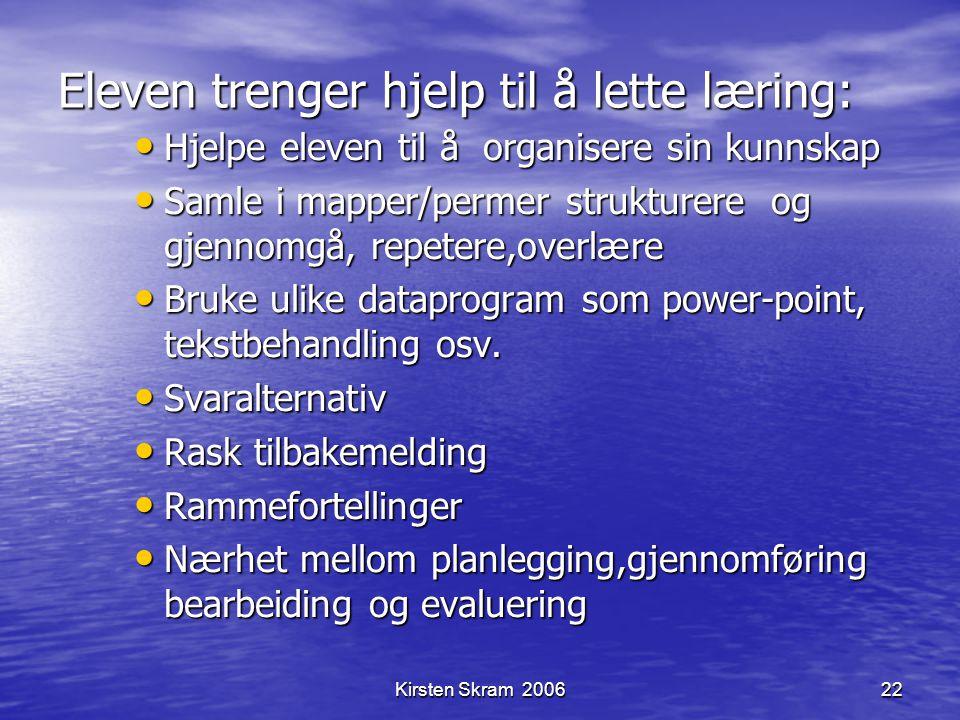 Kirsten Skram 200622 Eleven trenger hjelp til å lette læring: Hjelpe eleven til å organisere sin kunnskap Hjelpe eleven til å organisere sin kunnskap