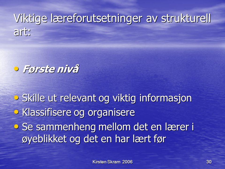 Kirsten Skram 200630 Viktige læreforutsetninger av strukturell art: Første nivå Første nivå Skille ut relevant og viktig informasjon Skille ut relevan