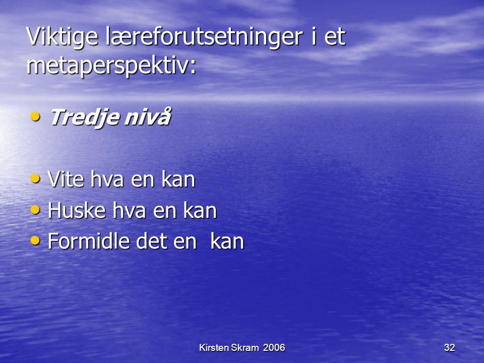 Kirsten Skram 200632 Viktige læreforutsetninger i et metaperspektiv: Tredje nivå Tredje nivå Vite hva en kan Vite hva en kan Huske hva en kan Huske hv