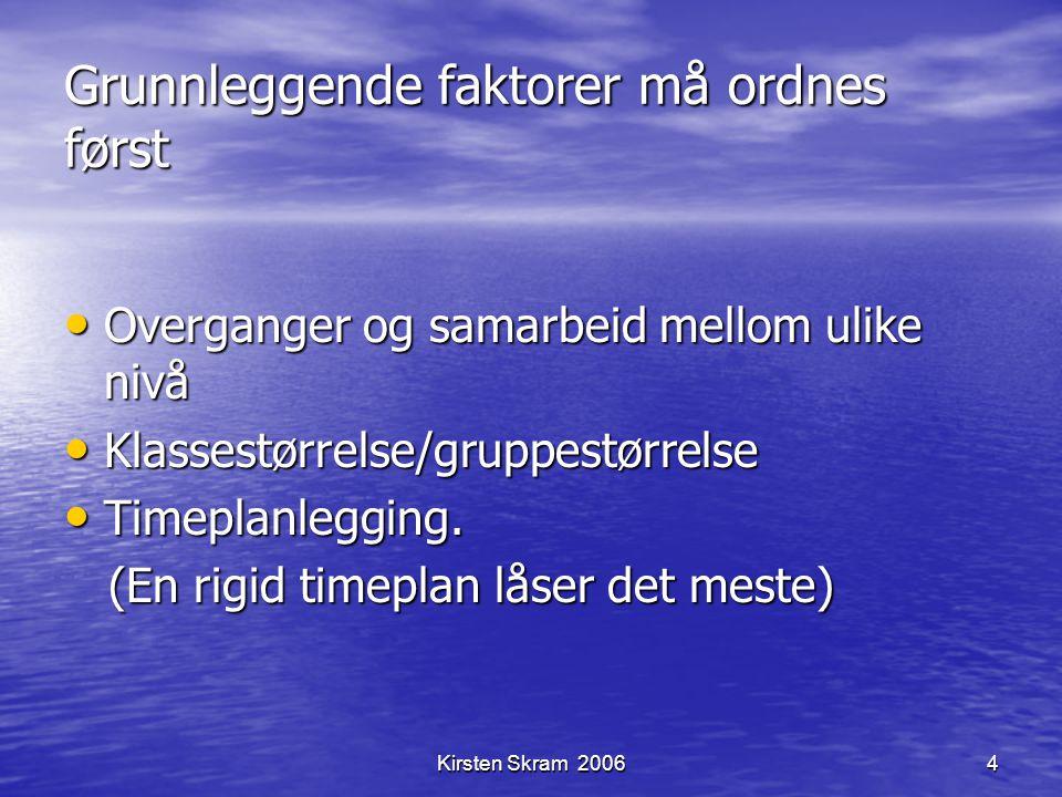 Kirsten Skram 20064 Grunnleggende faktorer må ordnes først Overganger og samarbeid mellom ulike nivå Overganger og samarbeid mellom ulike nivå Klasses