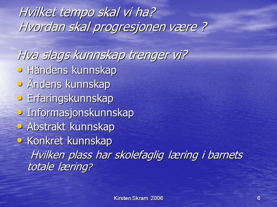 Kirsten Skram 20066 Hvilket tempo skal vi ha? Hvordan skal progresjonen være ? Hva slags kunnskap trenger vi? Håndens kunnskap Håndens kunnskap Åndens