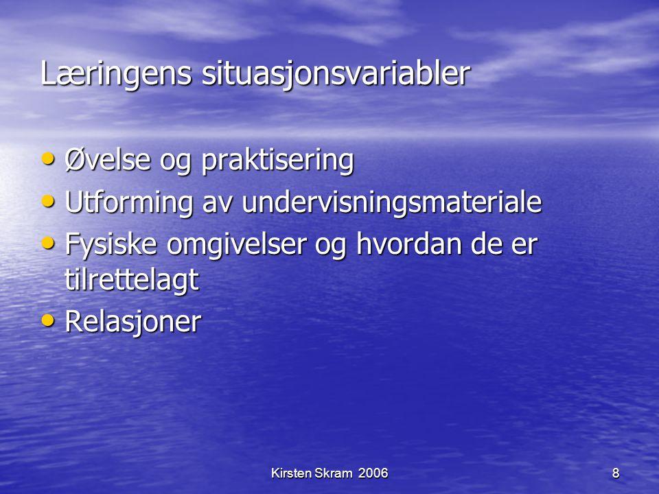 Kirsten Skram 20068 Læringens situasjonsvariabler Øvelse og praktisering Øvelse og praktisering Utforming av undervisningsmateriale Utforming av under