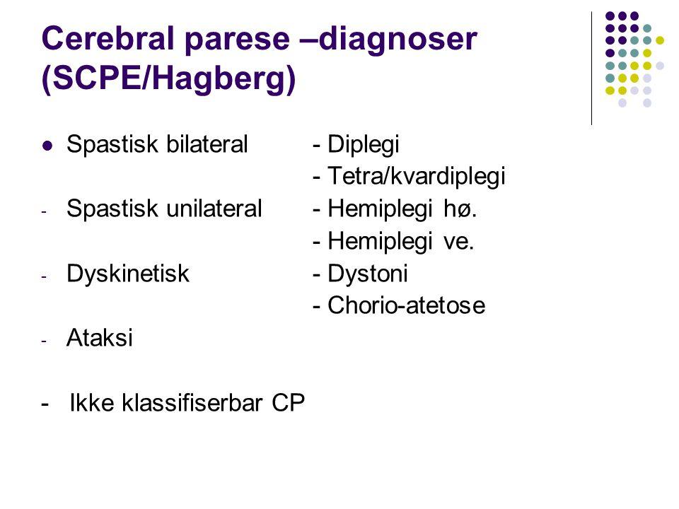 Cerebral parese –diagnoser (SCPE/Hagberg) Spastisk bilateral - Diplegi - Tetra/kvardiplegi - Spastisk unilateral - Hemiplegi hø. - Hemiplegi ve. - Dys