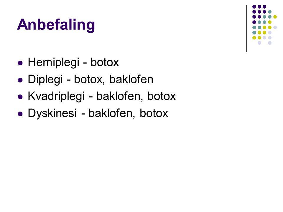 Anbefaling Hemiplegi - botox Diplegi - botox, baklofen Kvadriplegi - baklofen, botox Dyskinesi - baklofen, botox