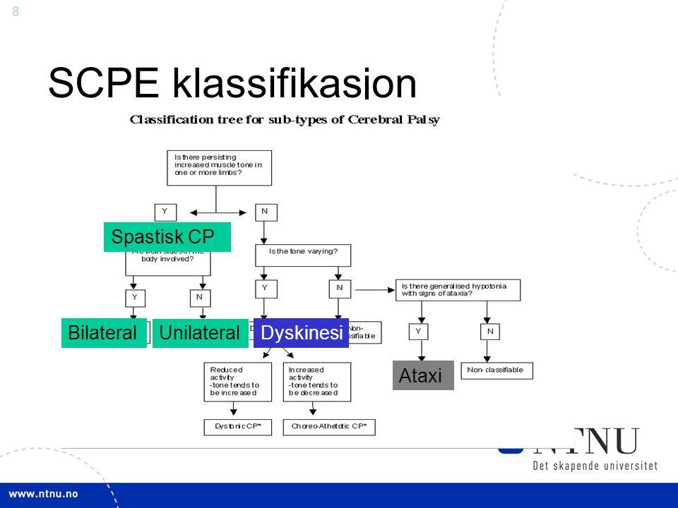 8 SCPE klassifikasjon Spastisk CP Bilateral Unilateral Dyskinesi Ataxi
