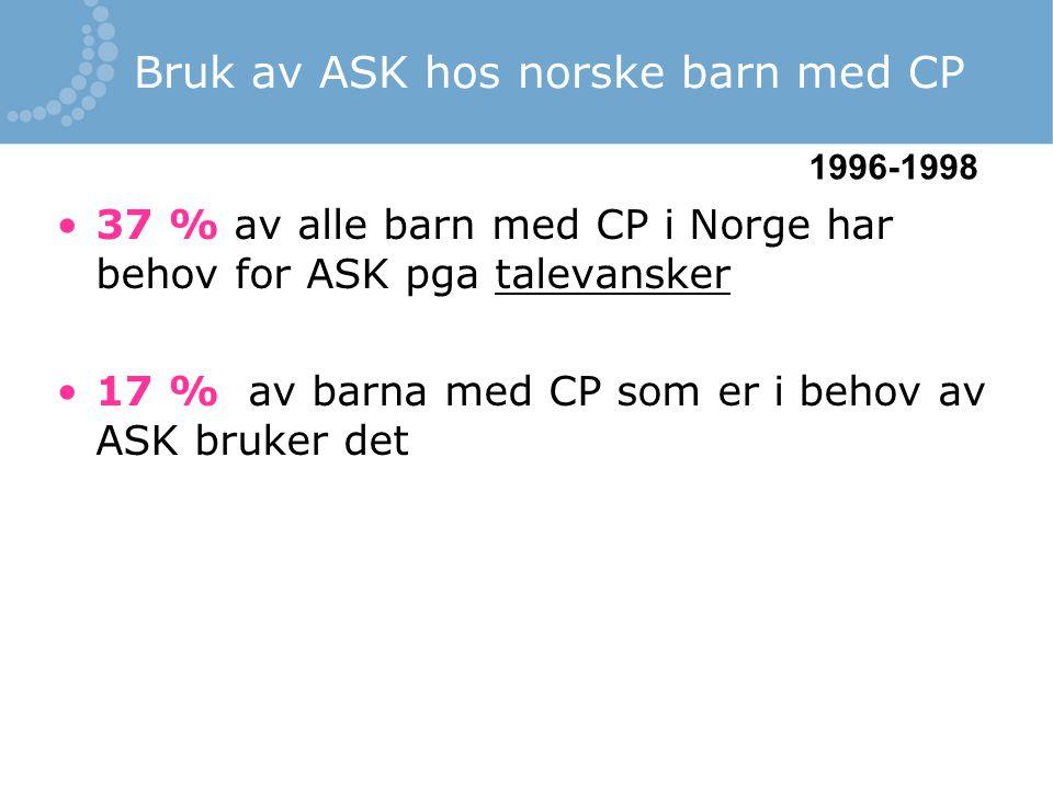 Bruk av ASK hos norske barn med CP 37 % av alle barn med CP i Norge har behov for ASK pga talevansker 17 % av barna med CP som er i behov av ASK bruke